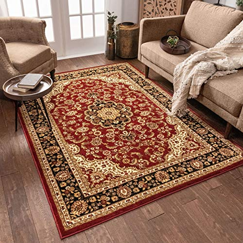 "Well Woven Noble Medallion Red Persian Floral Oriental Formal Traditional Area Rug 3x5 4x6 (3'11"" x 5'3"") Easy to Clean Stain Fade Resistant Shed Free Modern Contemporary Soft Living Dining Room Rug"