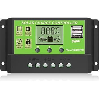 ソーラーチャージャーコントローラー ALLPOWERS 20A 12V 24V ソーラーパネル レギュレータ 充放電コントローラー チャージコントローラー LCDスクリーンディスプレイ付き 温度 デュアルタイマー機能 ソーラーシステム 充電器制御 電流ディスプレイ 自動調整スイッチ(グリーン)