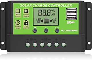 ALLPOWERS Dual USB 20A Solar Charge Controller 12V/24V Auto Paremeter Adjustable PWM LCD Solar Controller Regulator with Load Timer Setting ON/Off Hours