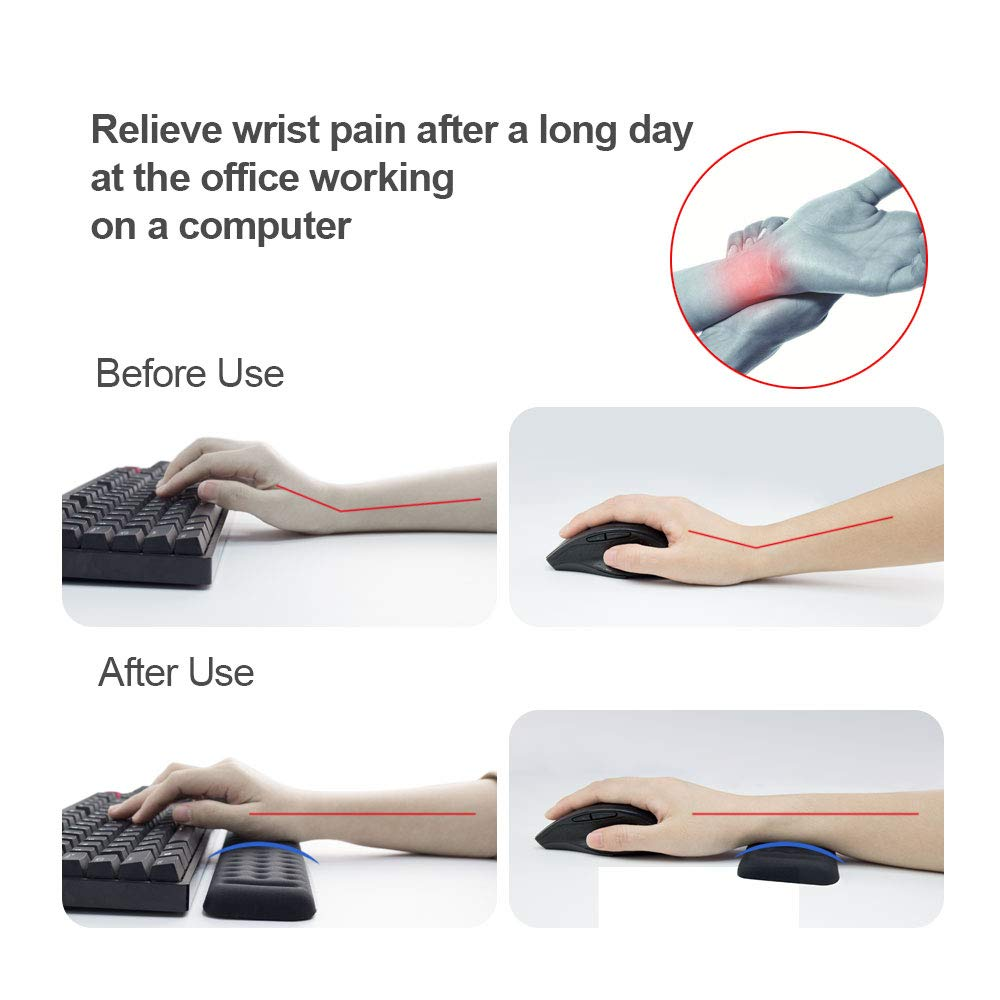 Memory Foam Keyboard Wrist Rest Pad and Mouse Pad with Wrist Rest, Ergonomic Hand Palm Rest Support, Memory Foam Pads Gaming, Computer, PC, Laptop, Mac Typing and Wrist Pain Relief (17.3 Inch, Black)