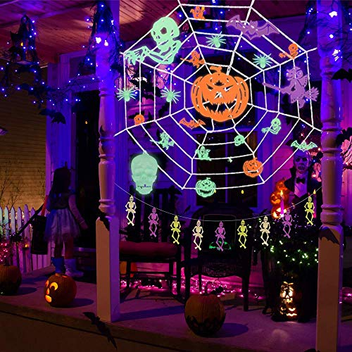 37 PCs Glow in the Dark Pieces, Party Decorations Indoor & Outdoor 9.8x9.8 Feet Spider Web, Ceiling and Wall Decals