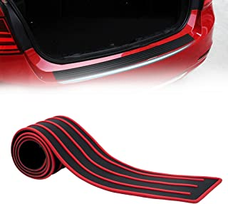runmade Black&Red Rubber 35.4 inch Rear Bumper Protector Guard Door Entry Sill Guard - Universal fit for Car SUV Pickup Truck Boat Non-SLI Scratch-Resistant Boot Sill Protector (90 cm)