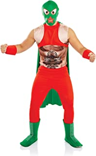 Mens Mexican Wrestler Costume Adults 80s Lucha Libre Fighter with Mask