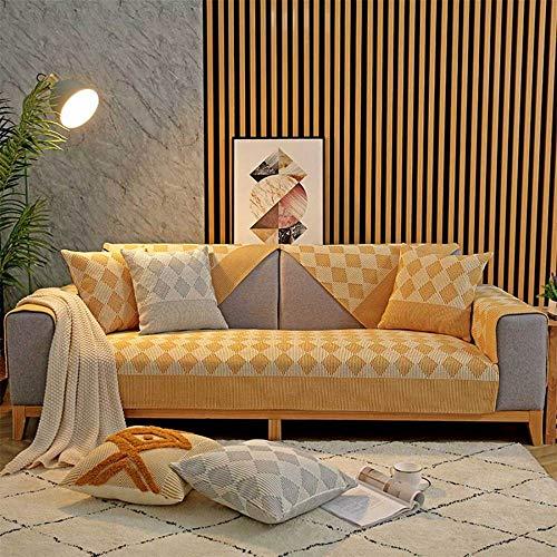 YSODFQL Cojín de tela de cojín de sofá universal de cuatro estaciones, algodón y lino moderno y sencillo, sala de estar nórdica, sofá de casa antideslizante, funda de toalla elástic
