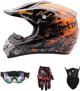 SanQing Motorrad-Sturzhelm, Jugend Kinder Dirt Bike Helme, Renn Motocross Fahrradhelm Vier Jahreszeiten universal Handschuhe, Schutzbrille, Schutzmaske, 4-teiliges Set