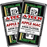 A-Tech 64GB (2x32GB) RAM for Apple iMac 2019 & 2020, Mac Mini 2018 & 2020 | DDR4 2666MHz SODIMM PC4-21300 2Rx8 1.2V 260-Pin SO-DIMM Memory Upgrade Kit
