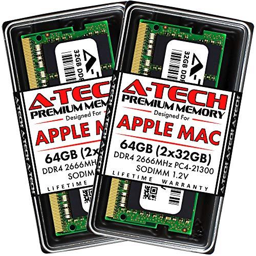 A-Tech 64GB Kit (2x32GB) DDR4 2666MHz RAM for Apple 2019 & 2020 iMac 27 inch (iMac19,1 iMac20,1 iMac20,2), 2018 Mac Mini | PC4-21300 SO-DIMM 260-Pin Memory Upgrade