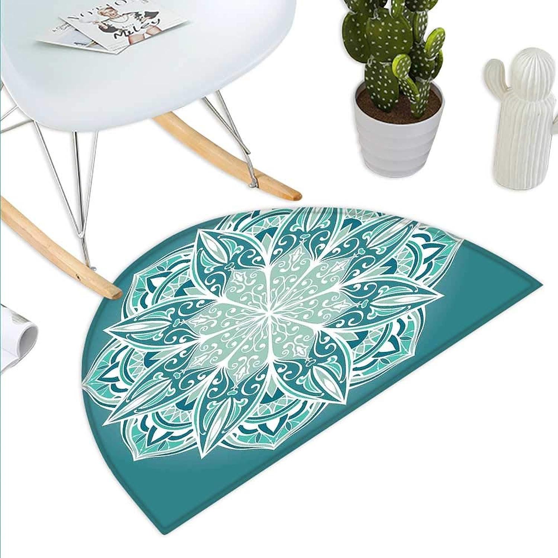 Turquoise Semicircle Doormat Spiritual Ritual Mandala Symbol Pattern Asian Universe Metaphysical Cosmos Sign Halfmoon doormats H 43.3  xD 64.9  Teal White