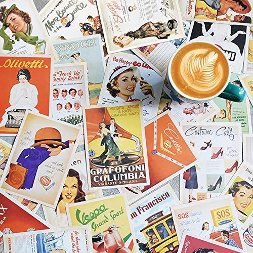 theFIU. 32 pièces 1 jeu de cartes postales de voyage vintage rétro de la vieille Europe, cartes postales panoramiques à collectionner des salutations(Affiche classique)