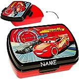 alles-meine.de GmbH Lunchbox / Brotdose -  Disney Cars / Lightning McQueen - Auto  - inkl. Name - Deckel komplett abnehmbar - Brotbüchse Küche Essen - 1 Fach - für Jungen - Kin..