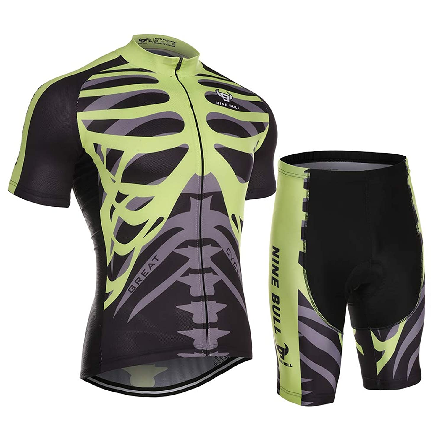 nine bull Men's Cycling Jersey Set - Reflective Quick-Dry Biking Shirt and 3D Padded Cycling Bike Shorts fxdn30262467364