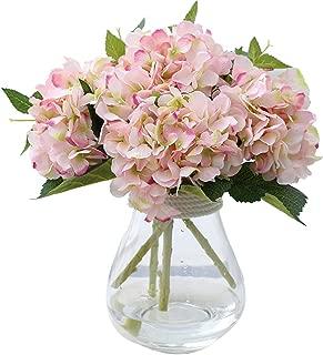 Felice Arts Artificial Silk Flowers California Fake Beautiful Hydrangea Bunch Bouquet Flower for Home Wedding Decor Pack of 3, Light Pink