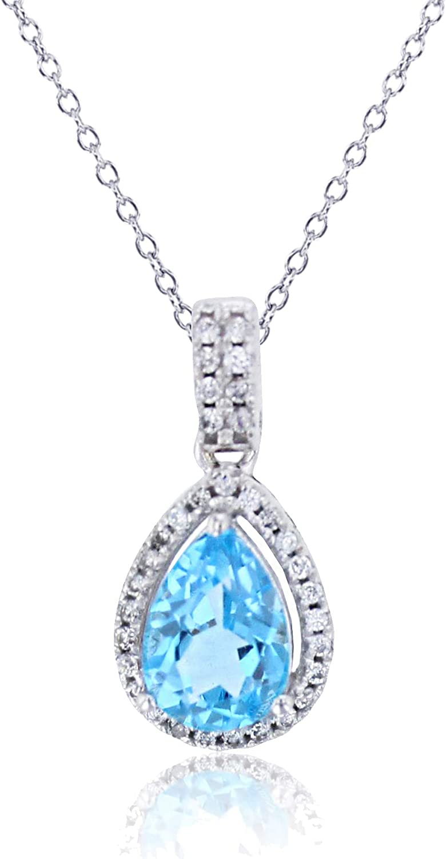 Import Sterling Silver Rhodium 8x5mm Oklahoma City Mall Pear Topaz Blue Swiss Crea Shape