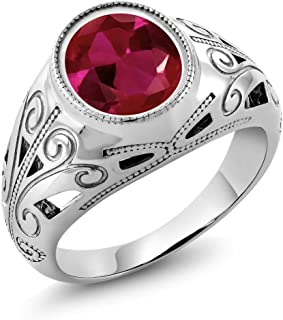 925 Sterling Silver Oval Red Created Ruby Men's Ring 6.40 Ct (Available 7,8,9,10,11,12,13)