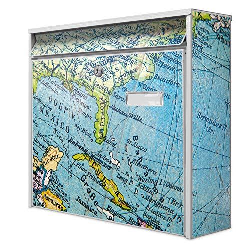 Burg Wächter Design Briefkasten   Postkasten 36cm x 32cm x 11cm groß   Stahl weiß verzinkt mit Namensschild   großer A4 Einwurf, 2 Schlüssel   Globus