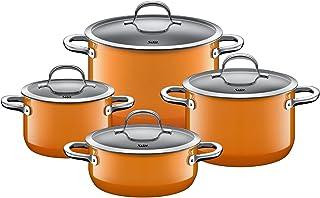 Silit Passion Orange 4-Piece Induction Saucepan Set with Glass Lid Silargan Functional Ceramic Induction Pots Set Nickel-F...