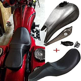 BBUT 2-Up Indented Stretched 6.6 Gallon Custom Gas Tank W/Silhouette Full Length Seat For Harley Touring Electra Road Street Glide FLHX FLTR FLHT 2008 2009 2010 2011 2012 2013 2014 2015 2016 2017 2018