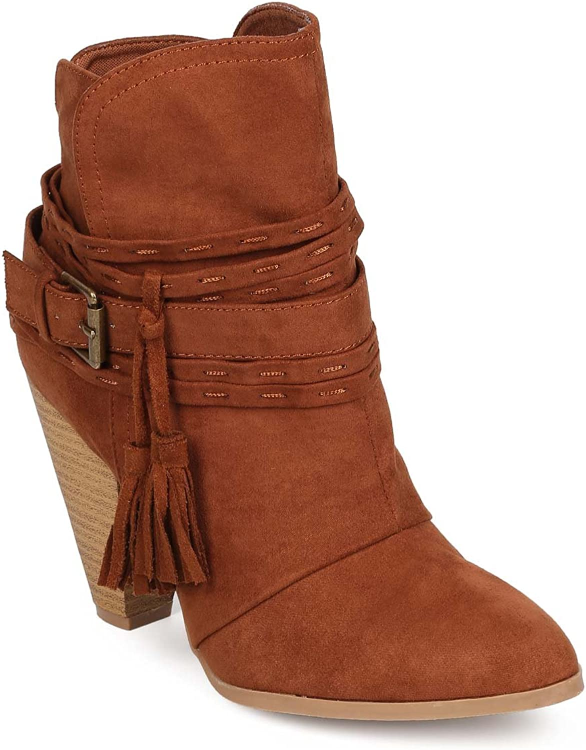 Qupid EA99 Women Suede Pointy Toe Tassel Wrapped Western Bootie - Rust