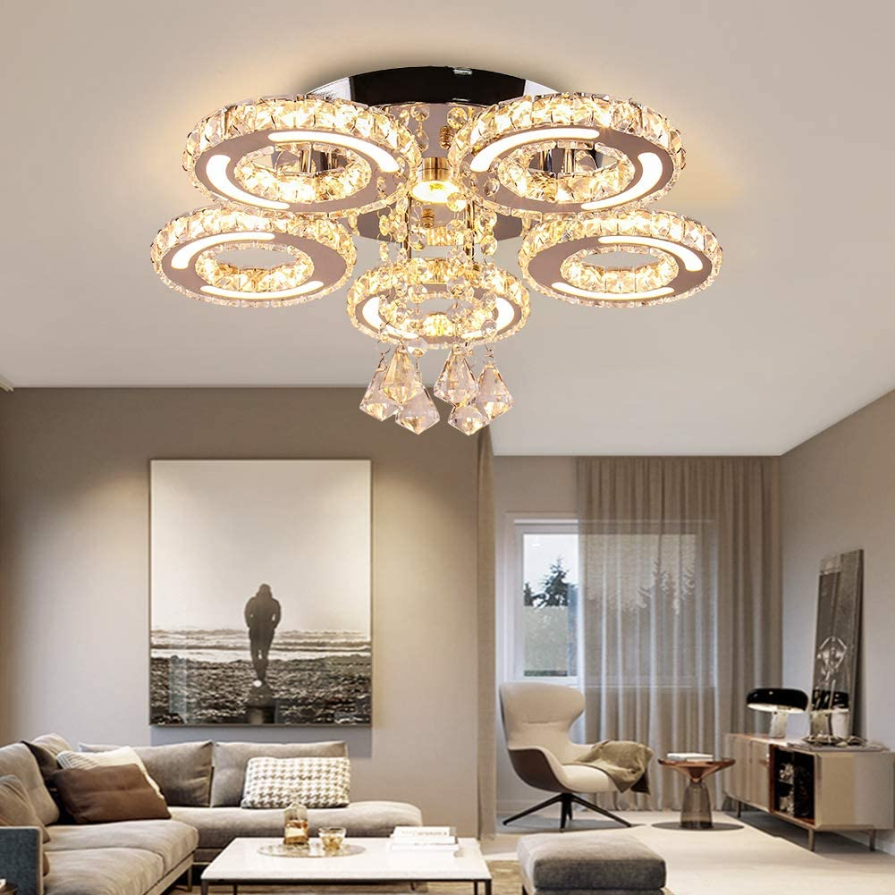 Finktonglan Ranking integrated 1st place Acrylic LED Ceiling Light 5 Stainless Large special price !! Steel Rings Cr