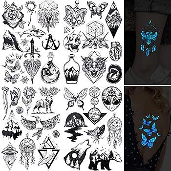 Konsait 46pcs UV NeonTemporary Tattoos for Adult Men Women Kids Blacklight Tattoos Temporary Body Art Sticker Hand Neck Wrist Cover Up Set Butterfly Wolf Flower Skull Whale Fluorescence Stickers