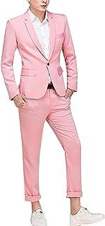 1つボタン フォーマルスーツ ビジネススーツ カラースーツ 結婚式 入社式 卒業式 就職 礼服 舞台 ステージ ホスト 演出衣装 ステージスーツ 2点セット CH093 (XL, ピンク)