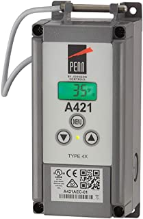Johnson Controls A421AED-01C Penn Series A421 Line-Voltage Type 4X Electronic Temperature Control with Off-Cycle Defrost Timer, IP67 Weathertight Enclosure, Temperature Sensor with 9-7/8