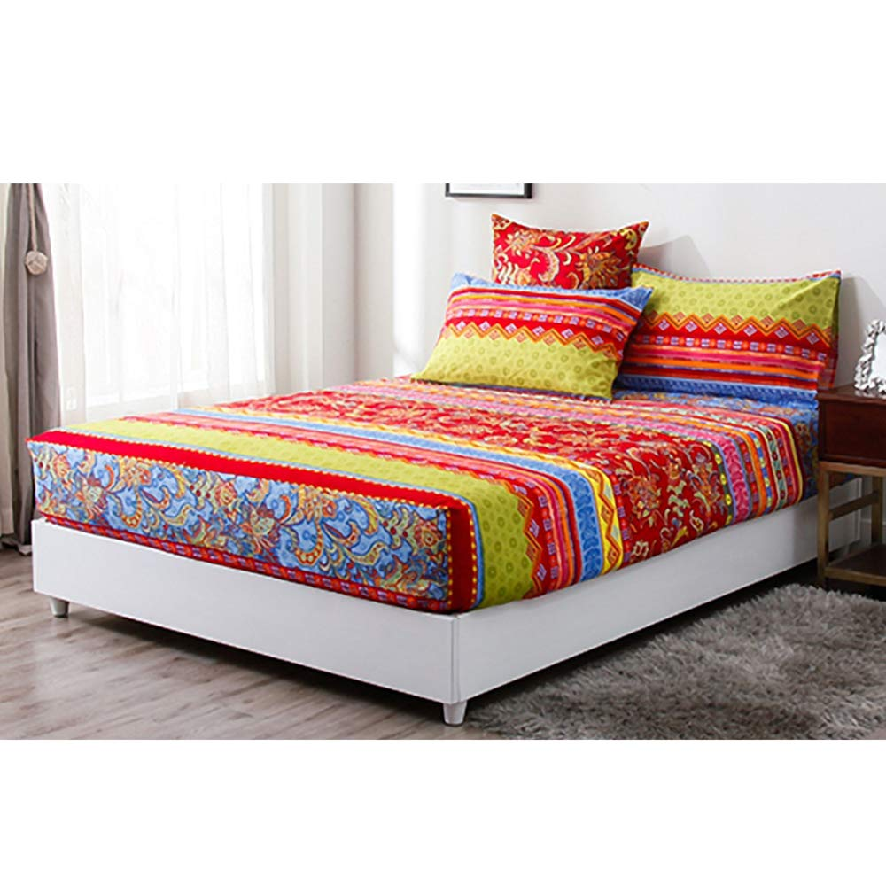 Indian Floral Printed  Queen Size Ethnic Bed Sheet With 2 Pillows Set Bohemian