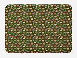 ABAKUHAUS Mollete Tapete para Baño, Las Magdalenas con Crema Batida, Decorativo de Felpa Estampada con Dorso Antideslizante, 45 cm x 75 cm, Árbol de Hoja perenne y Multicolor
