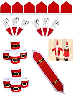 RichDeer 21 Pcs Christmas Table Decorations Set Santa Red Hat Chair Covers Wine Bottle Cover Table Runner Xmas Napkin Ring Holder