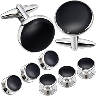 AMITER Cufflinks and Tuxedo Shirt Studs Set for Men Classic Silver Round Shape in Gift Box - Formal Business Wedding Anniversary Jewelry