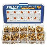 Bojack kit da 650 condensatori elettrici in ceramica assortiti, di 10 tipi, da 0,1 uf/100 nF a 10 uF