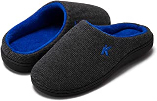 Men's Classic Two-Tone Memory Foam Slipper, Comfort Warm Indoor Outdoor House Bedroom Slippers