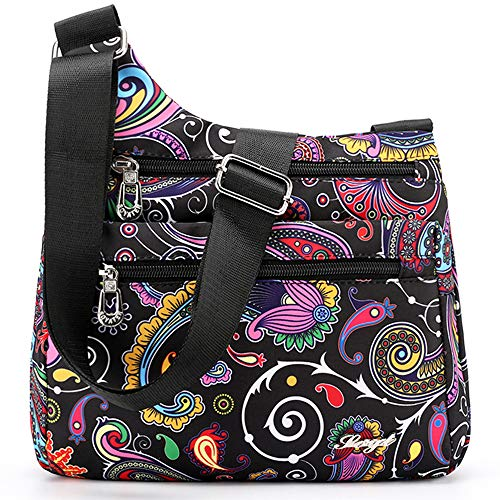 STUOYE Nylon Multi-Pocket Crossbody Purse Bags for Women Travel Shoulder Bag (Ethnic Pattern)