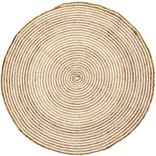 Handgewebter runder Jute Teppich 150 cm groß Rocio | Outdoor Teppiche Rund geflochten für Garten oder Balkon | Indoor im Wohnzimmer Kinderzimmer | Mediterrane Deko für Ihre Wohnung