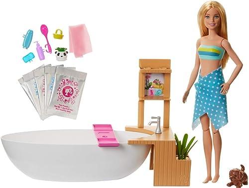 Barbie Bien-être coffret Bain Coloré avec poupée blonde, baignoire, figurine chiot et accessoires, jouet pour enfant,...