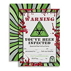 Image: Zombie Fill In Party Invitations by Amanda Creation | feature a toxic sign with the warning that you've been infected | Complete with dripping blood splatters | invite everyone to your zombie outbreak party
