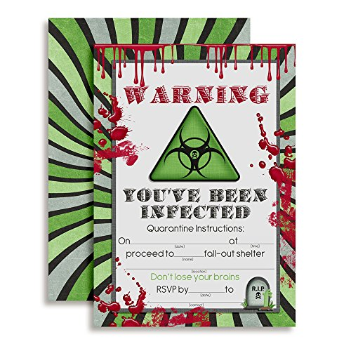 """Zombie Infection Birthday Invitations, 20 5""""x7"""" Fill in Cards with Twenty White Envelopes by AmandaCreation"""