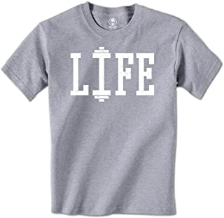 Swift Pigeon Apparel Life - Dumbell Workout Lift Fitness Mens T-Shirt (Medium Light Gray)