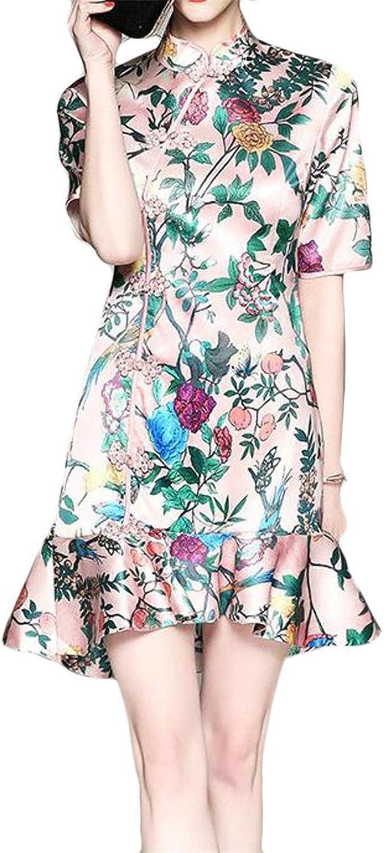 Blyent Women Classic Mermaid Floral Printed Qipao Bodycon Mini Dresses