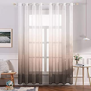 MIULEE 2 Panels Linen Sheer Curtain Voile Grommet Top Semi Translucent Gradient Curtains Window Treatment for Bedroom Living Room Ombre Coffee 54x84 Inch