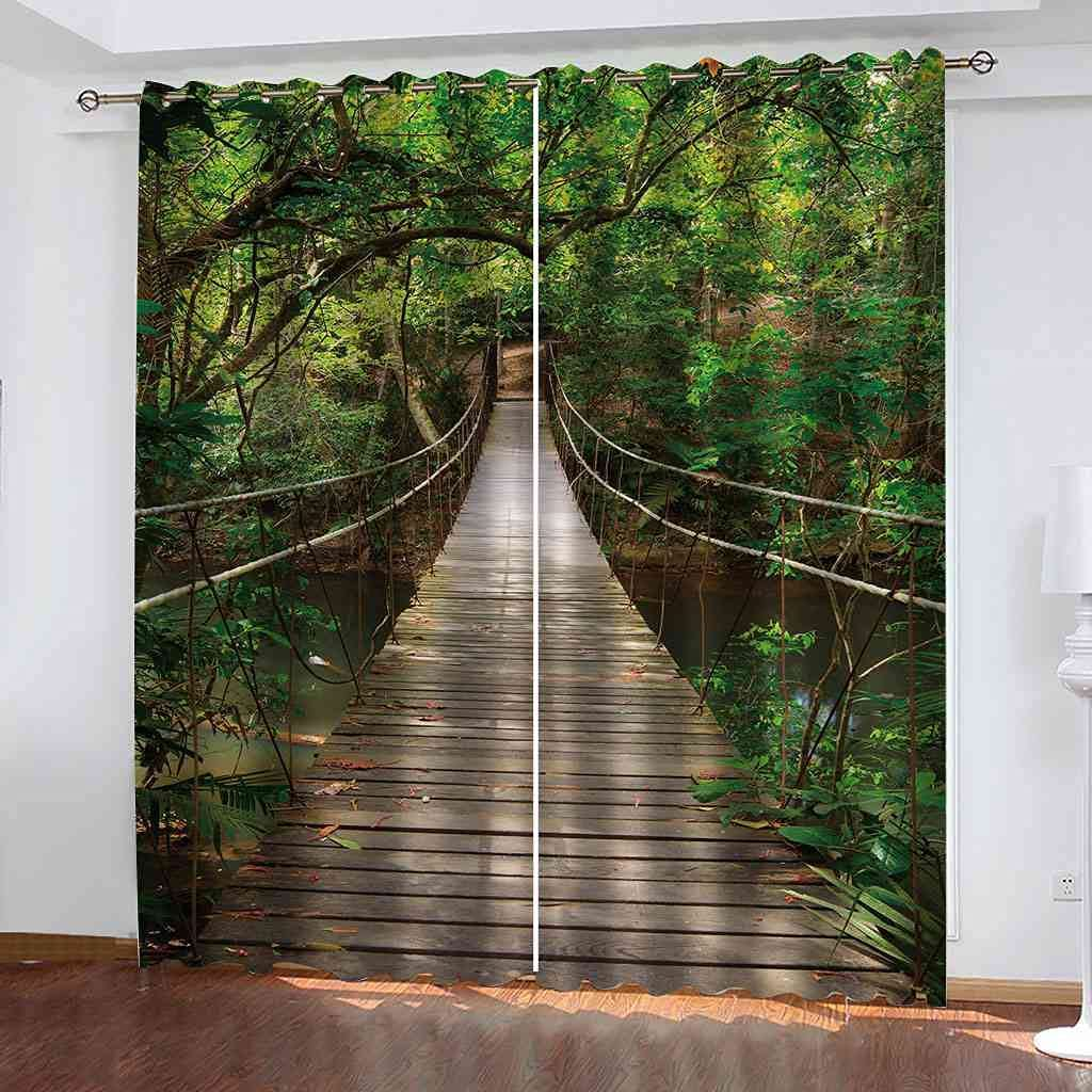 DSVNNZ Blackout Curtains for Living Bedroom Suspensi Year-end gift quality assurance Room Forest