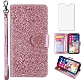 Glitter Wallet Phone Case for Samsung Galaxy J2 Pure J2 Core J 2 Dash 2J Shine with Tempered Glass Screen Protector Cover and Card Holder Kickstand J2Core J2Dash J2Pure J2Shine SM-J260A J260A Pink