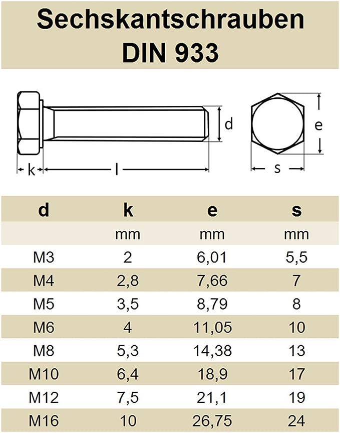 - DIN 933 Vollgewinde Edelstahl A2 V2A rostfrei Eisenwaren2000 ISO 4017 Sechskant Schrauben Sechskantschrauben mit Gewinde bis Kopf M8 x 100 mm 30 St/ück Gewindeschrauben