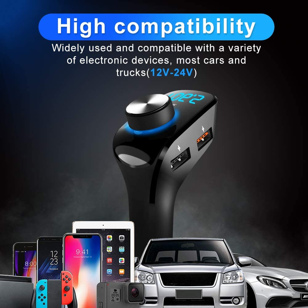 Black Reversible Insert 2 USB Ports NECESPOW Bluetooth FM Transmitter,BT 5.0 FM Car Radio Adapter Receiver,HandsFree Call Car Charger kit with 3 USB Ports AUX Output//TF Card//Car Mp3 Player//U-Disk