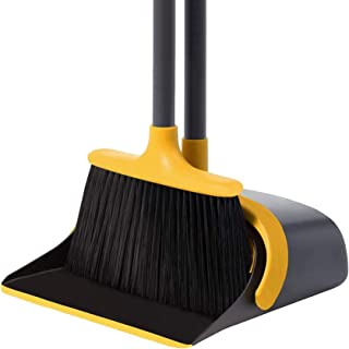 Broom and Dustpan Set Dustpan and Broom with Long Handle Upright Stand Up Dustpan Broom Combo for Lobby Office Home Room K...