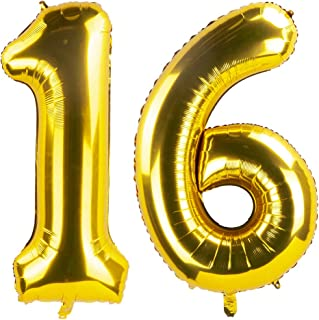 Tim&Lin 40 inch Gold Number Jumbo Foil Mylar Helium Balloons - Party Decoration Supplies Balloons - Great for Wedding, Bir...