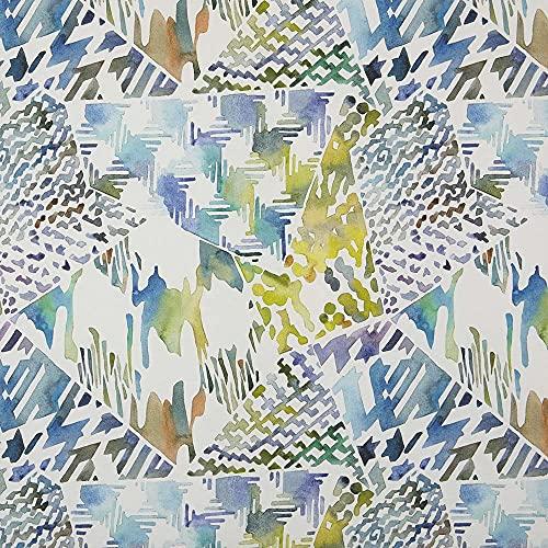 Tela por metros de loneta estampada digital - Half Panamá 100% algodón orgánico, Oeko-Tex Standard 100 - Ancho 280 cm - Largo a elección de 50 en 50 cm   Geométrico Collage - Azul, verde, lila