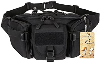 CREATOR Tactical Waist Pack Portable Fanny Pack Outdoor Hiking Travel Large Army Waist Bag Military Waist Pack for Daily Life Cycling Camping Hiking Hunting Fishing Shopping - Black