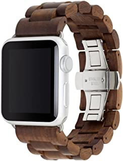 Woodcessories - Band Compatible with Apple Watch Series 1-5 Made of Real Wood, EcoStrap (40/42 mm, Walnut/Silver)