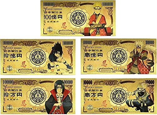 ナルト Naruto 24K Gold Coated Limited Edition Foil Collectible Bill Banknote Bookmark Set
